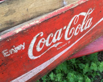 Vintage COCA COLA Wooden Soda Crate Case Tray Red Paint