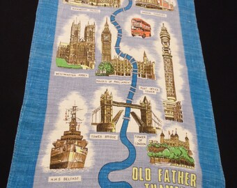 Vintage Blue and White Souvenir of London England Pure Irish Linen Kitchen Towel