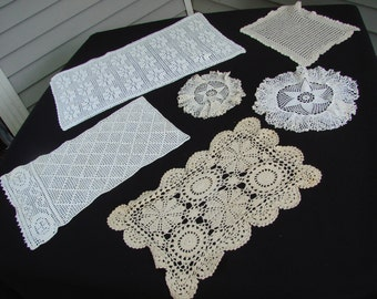 Lot of 6 Vintage Hand Crochet Ecru and Off White Doilies