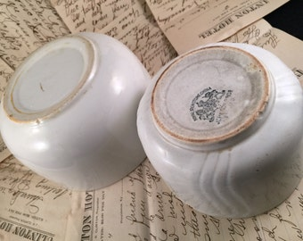 Pair of Antique/Vintage Well Loved White Ironstone China Bowls