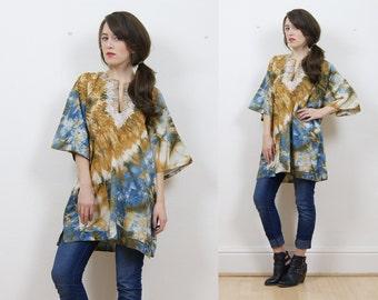 Vintage kaftan, tie dye kaftan, tunic top, hippie top, boho tunic top, shirt kaftan, tie dye top, Ethnic top