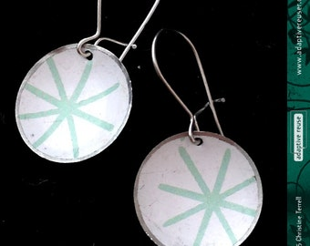 Mod Pale Aqua Asterisks -- Upcycled Tiny Basin Earrings
