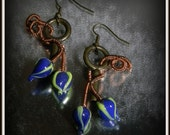 CLEARANCE SALE Vintage Key Earrings with lampworked and wireworked purple flowers and leaves