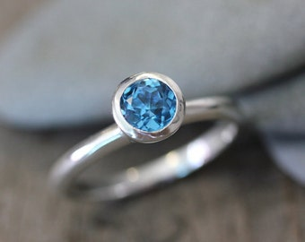 Swiss Blue Topaz  Solitaire Gemstone Ring in Recycled Sterling Silver, Solitaire or Stacking Ring