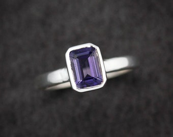 Water Sapphire Ring, Emerald Cut Iolite Ring, Eco Silver Stacking Ring, Gemstone Solitaire Ring,Water sapphire, Size 7.5