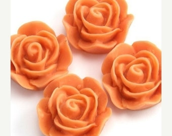 50% OFF SALE Flower Cabochons Plastic Rose 20mm Orange (4) PC120
