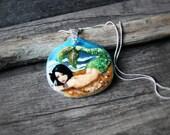 RESERVED for Sharon Beautiful Mermaid on the rock  - fused glass pendant - mermaid nekclace - boho gypsy jewelry