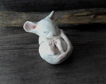 Little precious porcelain ceramic sleepy baby Mouse