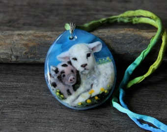 Cute Baby pig and lamb - Fused glass pendant