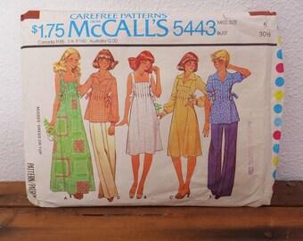Vintage 1970's Sundress Pattern Vintage McCall's 5443 Summer Dress Summer Top Miss Size 6 Bust 30 1/2 70's Sundress Pattern