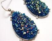 Sapphire Blue Druzy Earrings - Large teardrop shaped faux acrylic druzy in cerulean blue aurora borealis finish