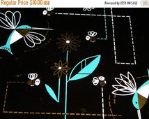 Vintage 1950's Atomic Style Sandwich Plate, Hummingbirds, Flowers, Bumble Bees, Mid Century Smoky Gray Black Glass retro 50's collectible