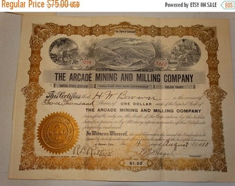 ON SALE 1910 The Arcade Mining and Milling Co Stock Certificate, 3000 Shares, #234 Denver Colorado Mine Precious Metals, Old West, Western A