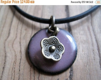 SALE Purple Enamel Necklace, Enamel Flower Necklace, Copper Enamel Jewelry, Aubergine Necklace, Orchid Purple Jewelry