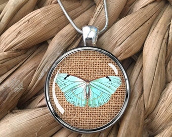 Butterfly on Burlap Glass Pendant Necklace
