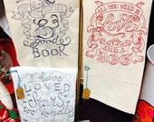 Embroidered Quote Tea Towels - Pet, Books, Coffee, Stars, etc.