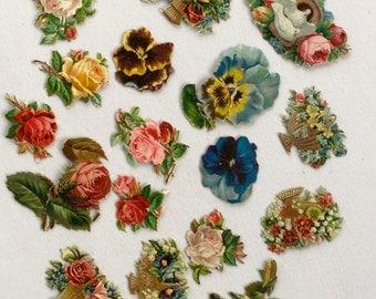 Victorian Calling Card Scrapbook Lithograph Flowers Antique Paper Ephemera