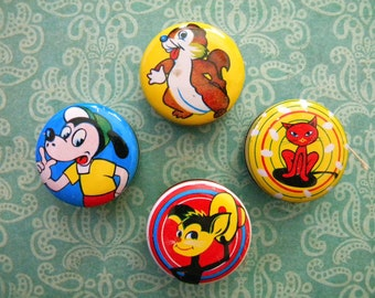4 Vintage Tin Litho Yo yos with Cartoon Characters Japan Miniature Yoyo Lot