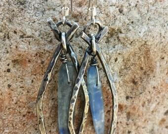 Sterling Silver Earrings  -Blue Kyanite  Earrings - Western Cowgirl Jewelry - Organic Earrings - Hammered Silver Earrings