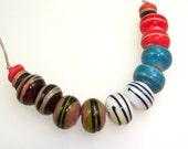 Handmade Lampwork Beads. Colorfest! 5 pairs. Enamel & lines, assorted colors. Red, Teal, Vanilla, Caramel, Wine, Black, Sage.