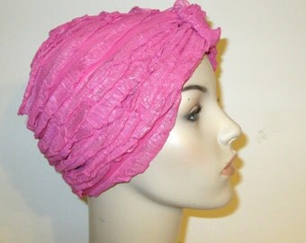 Ruffled Rose Stretch Turban, Chemo Hat, Cancer Turban, Womens Hat