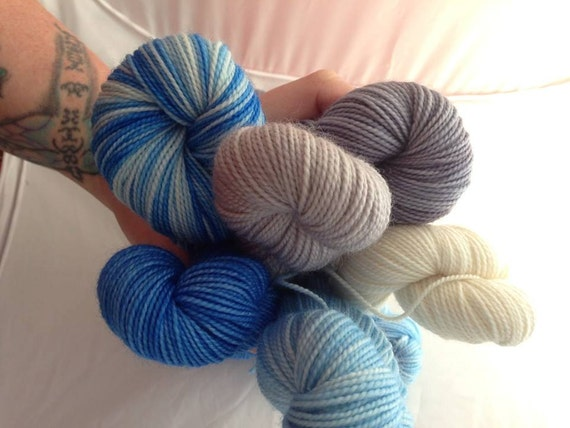 Year of Sky - Dyed to Order - Hand Dyed - Merino Wool Yarn - Fingering Weight - Gradient Kit - Mini Skeins