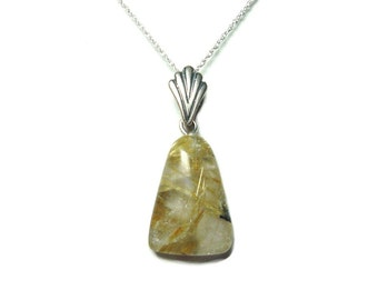 Rutilated Quartz sterling silver pendant with chain