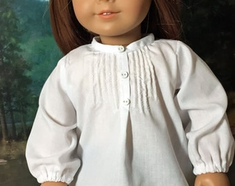 18 inch Doll Clothes White Pintuck Peasant Blouse