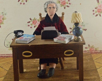 Agatha Christie -  Mystery Writer -Doll Miniature -Diorama Scene-   British Author-  Uneek Doll Designs