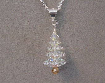Christmas Jewelry necklace - Swarovski Crystal CHRISTMAS TREE Necklace Crystal AB - Choice Silver or Gold