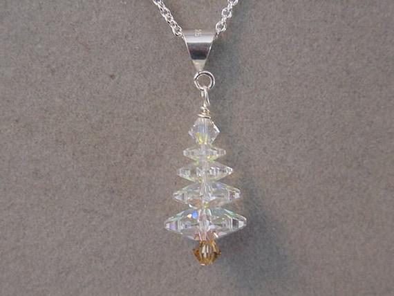 Christmas Jewelry Necklace Swarovski Crystal Christmas Tree