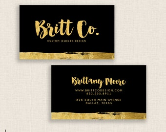 GOLD & FOIL - Double Sided - DIY Printable Business Card Template - Personalized - Gold Glitter - Printable