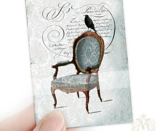Regency chair, crow, aceo, artists trading card, collectible art print, crow on a chair, vintage style, gothic, French, miniature, art print