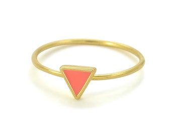 Coral Triangle Enameled Gold Vermeil Ring // Enamel in Geometric Setting on a Thin, Dainty Gold Band // Choose Your Accent Color