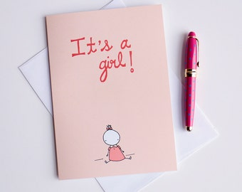 """Its a girl - Cest une petite fille - Greeting Card - illustration - 5x7"""""""