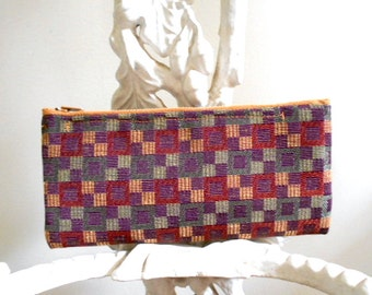 Geometric woven pencil case, utility pouch, cosmetic bag #2 - 1980s vtg - eco vintage fabric