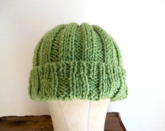 SALE Apple green hat, slouchy beanie, watch cap - HAND KNIT - vegan wool acrylic - women men youth teen