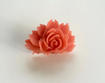 Peach Large Rose Ring, Large Rose Ring, Statement Ring