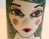 face planter girls face vase  ceramic planter vase with face drinking glass white green blue
