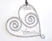 Heart Ornament . Personalized Christmas Ornament . Wire Name Ornament . Wire Wrapped