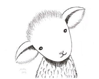 Nursery Decor Lamb Ink Drawing Print Illustration Farm Animal Nursery Art Black & White Wall Decor Cute Lamb Sheep Baby 5x7 Rustic Home MiKa