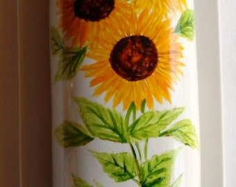 Sunflower Butter Dish Hand Painted Sunflowers Covered Butter Dish