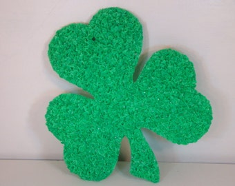 Vintage Shamrock Vintage St. Patrick's Day Decoration 1970s Melted Plastic Shamrock Vintage Irish Shamrock Outdoor St. Patricks Day Decor