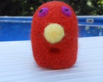 Little Red Wool Needle Felted Friendly Monster