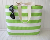 Green Striped Beach Bag - Green Striped Beach Tote - Striped Beach Tote Bag