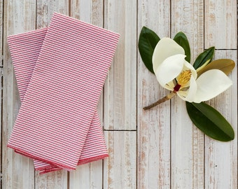 RED Seersucker Cloth Napkins by Dot and Army, set of four cloth napkins