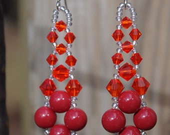Swarovski Elements Pearl and Crystal Red Coral Prom Bridal Wedding Chandelier Earrings