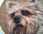 "Embroidery Hoop Art Yorkie Dog on Brown Burlap Needle Felting Pet Portrait 6"" READY to SHIP"