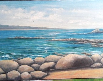 "Oil Painting Rocky Beach Seascape 12"" x 24"" READY to SHIP"