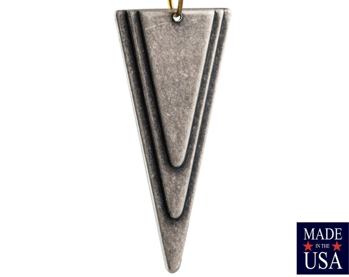 1 Bottom Hole Matte Silver Ox Large Layered Deco Triangle Pendant (6) mtl200H